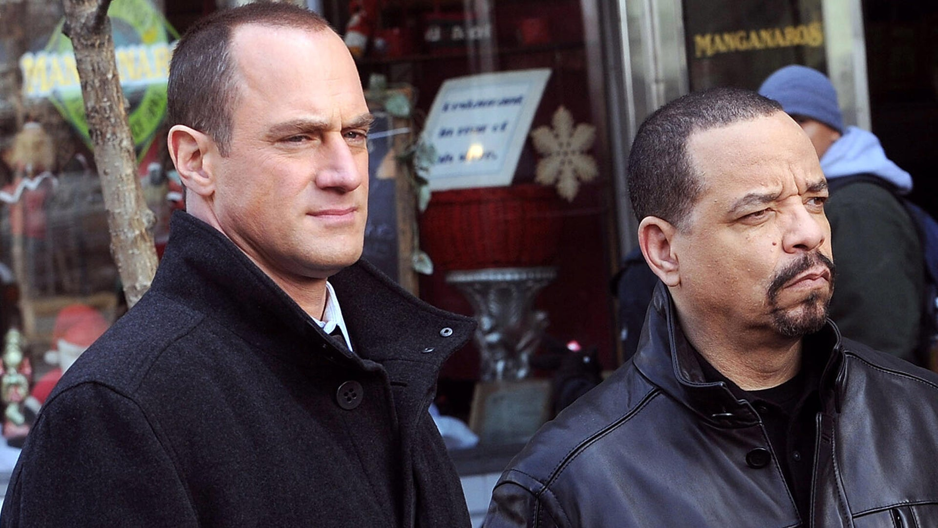 Christopher Meloni and Ice-T filming on location for Law & Order SVU