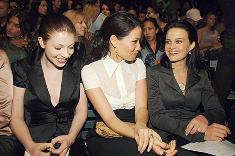 Michelle Trachtenberg, Lucy Liu and Carla Gugino - Spring 2006 L.A. Fashion Week Louis Verdad show, October 16, 2005