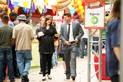 "Bones - Season 7 - ""The Hot Dog in the Competition"" - Emily Deschanel as Brennan and David Boreanaz as Booth"