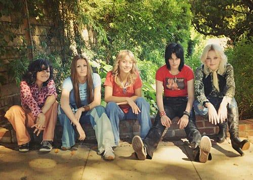 The Runaways - Alia Shawkat as Robin, ScoutTaylor-Compton as Lita Ford, Stella Maeve as Sandy West, Kristen Stewart as Joan Jett and Dakota Fanning as Cherie Currie