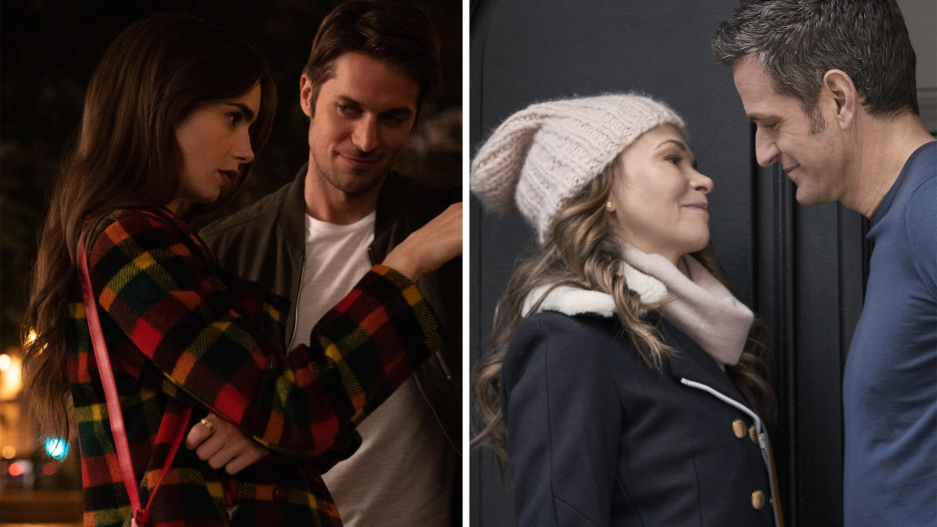 Lily Collins and Lucas Bravo, Emily in Paris; Sutton Foster and Peter Hermann, Younger