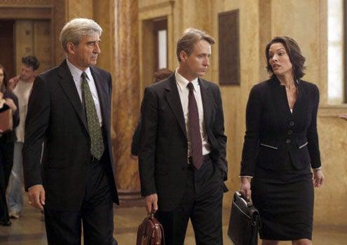 "Law & Order - Season 20 - ""Dignity"" - Sam Waterston as District Attorney Jack McCoy, Linus Roache as A.D.A. Michael Cutter, Alana De La Garza as A.D.A. Connie Rubirosa"
