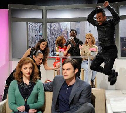 "Saturday Night Live - Season 35 - ""January Jones"" - Nasim Pedrad, Kristen Wiig, Black Eyed Peas, Abby Elliott, Bill Hader"