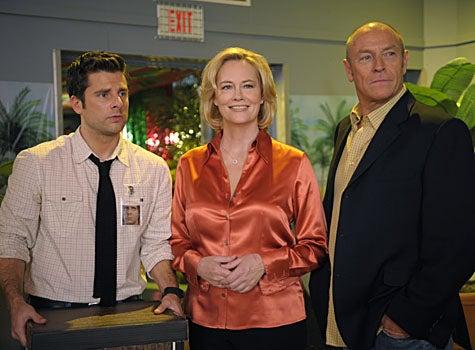 "Psych - Season 3, ""Murder...Anyone?...Anyone?...Bueller?"" - James Roday as Shawn Spencer, Cybill Shepherd as Madeline, Corbin Bernsen as Henry Spencer"