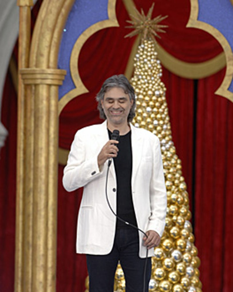 Walt Disney World Christmas Day Parade - Andrea Bocelli performs as part of the annual festivities.