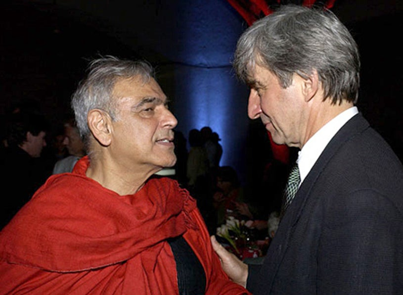 """Ismail Merchant and Sam Waterston - The """"Le Divorce"""" premiere after-party, July 29, 2003"""