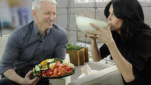 VIDEO: Anderson Cooper Serves Ranch Dressing to Courteney Cox --- Is He Trying Too Hard?
