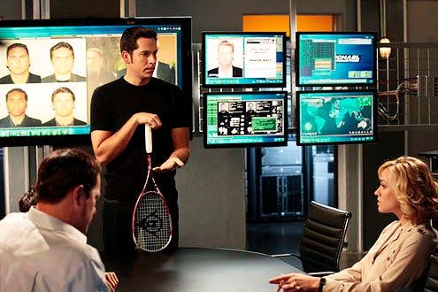 "Chuck - Season 5 - ""Chuck vs. The Zoom"" - Adam Baldwin as John Casey, Zachary Levi as Chuck Bartowski and Yvonne Strahovski as Sarah Walker"