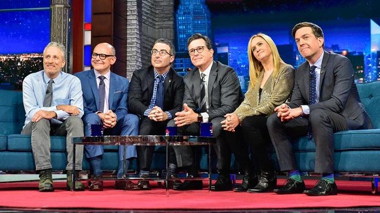 Jon Stewart, Rob Corddry, John Oliver, Stephen Colbert, Samantha Bee, and Ed Helms, The Late Show