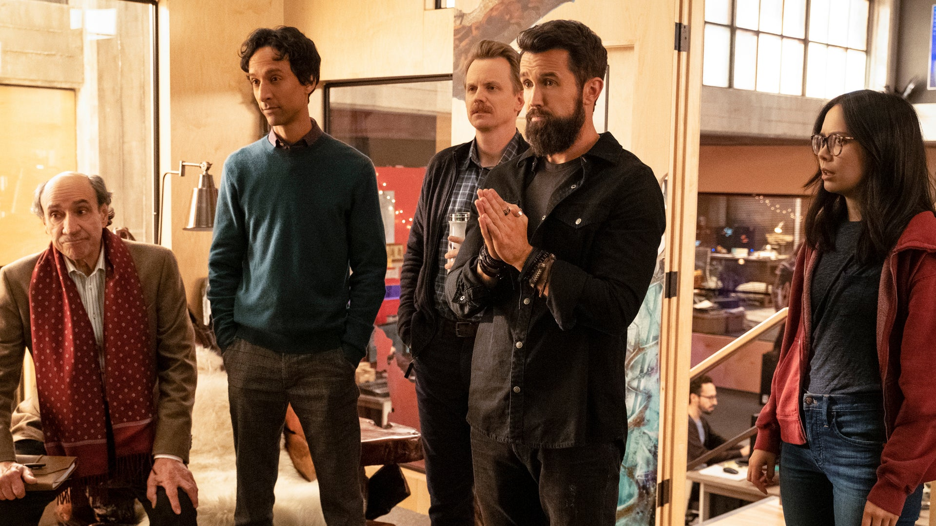 F. Murray Abraham, Danny Pudi, David Hornsby, Rob McElhenney and Charlotte Nicdao, Mythic Quest