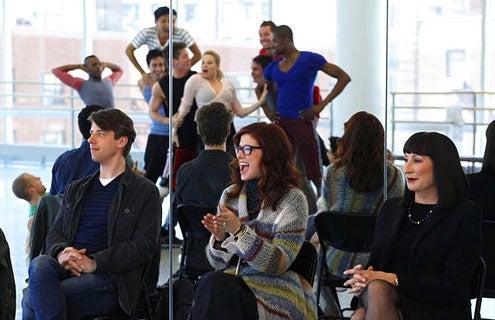 "Smash - Season 1 - ""Pilot"" - Christian Borle as Tom, Debra Messing as Julia, Anjelica Huston as Eileen and Megan Hilty as Ivy Bell"