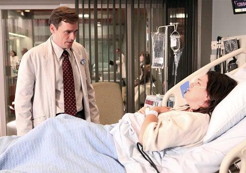 "House - Season 8 - ""Transplant"" - Robert Sean Leonard as Wilson and guest star Liza Snyder"