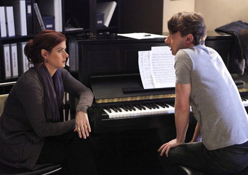 "Smash - Season 1 - ""Chemistry"" - Debra Messing as Julia Houston and Christian Borle as Tom Levitt"