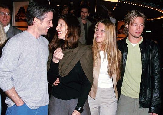 "Dermot Mulroney, Catherine Keener, Jennifer Aniston and Brad Pitt - ""Erin Brockovich"" Premiere, March 14, 2000"