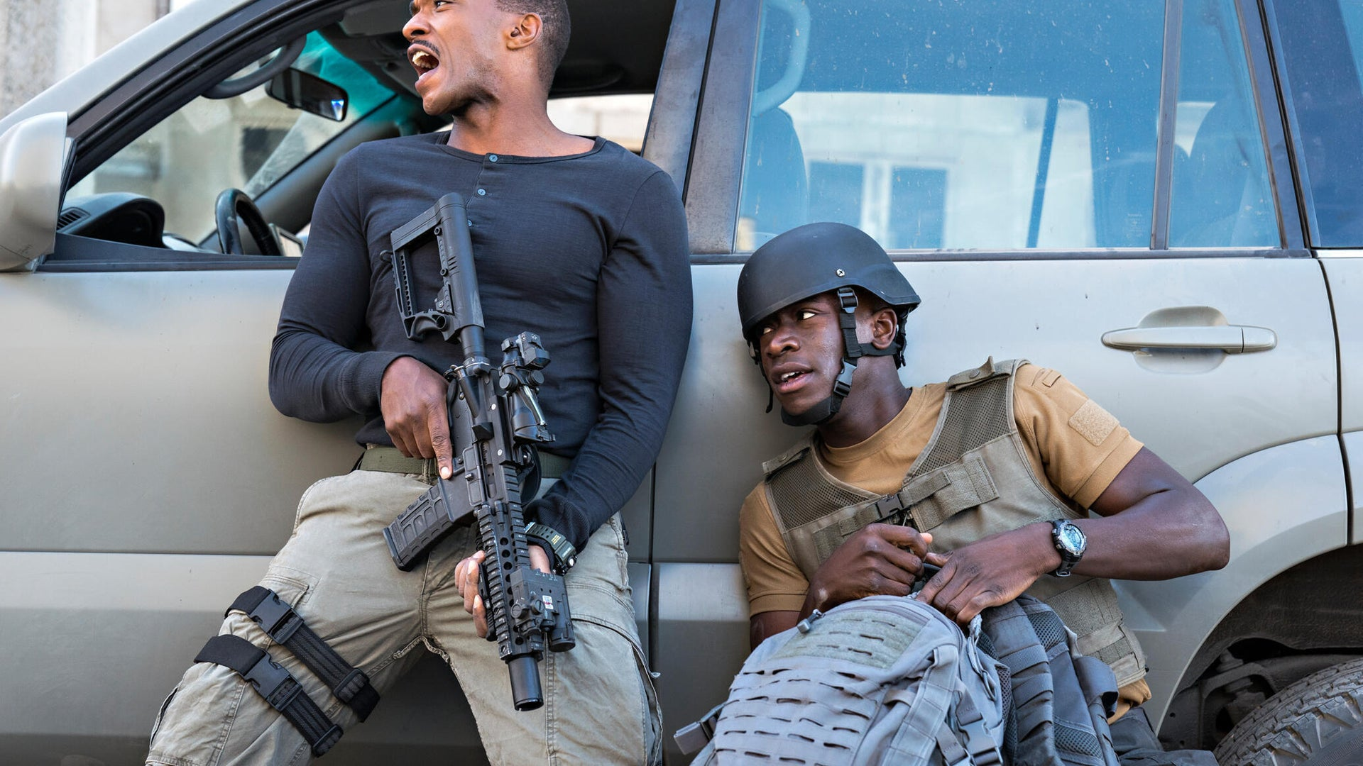 Anthony Mackie and Damson Idris, Outside the Wire