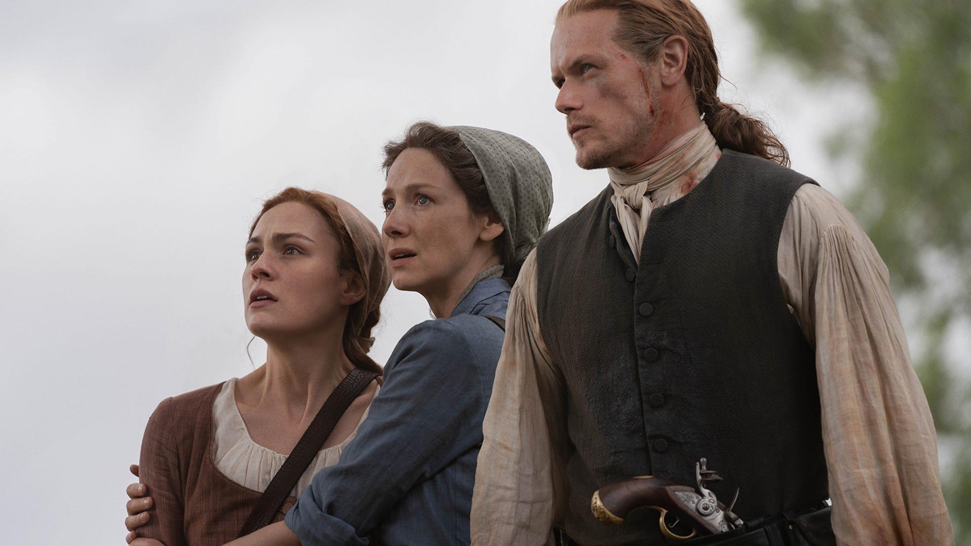 Sophie Skelton, Caitriona Balfe and Sam Heughan, Outlander