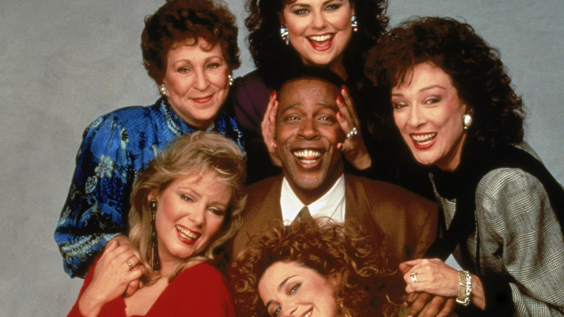 Jean Smart, Alice Ghostley, Delta Burke, Dixie Carter, Annie Potts and Meshach Taylor; Designing Women