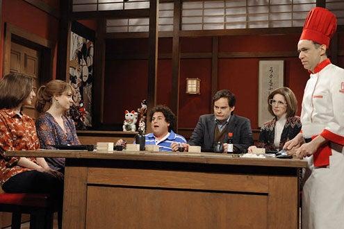 "Saturday Night Live - Season 37 - ""Jonah Hill"" - Nasim Pedrad, Abby Elliott, Jonah Hill, Bill Hader, Vanessa Bayer and Fred Armisen"