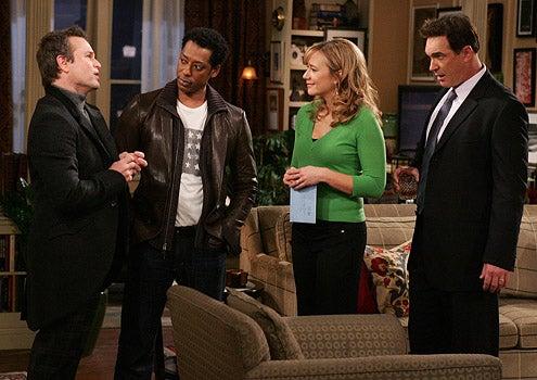 "Rules of Engagement - Season 3 - ""Lying King"" -  Sam Harris as Jackie, Orlando Jones as Brad, Megyn Price as Audrey and Patrick Warburton as Jeff"