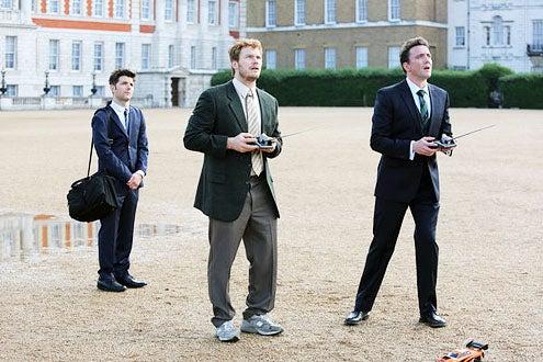 "Parks and Recreation - Season 6 - ""London"" - Adam Scott, Chris Pratt and Peter Serafinowicz"