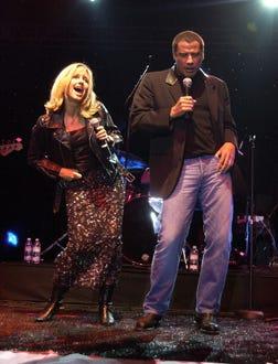 "Olivia Newton-John and John Travolta - Paramount's releases of ""6 All Time Musical Favorites"", Sept. 2002"