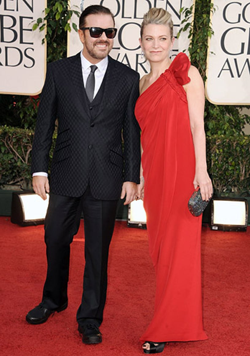 Ricky Gervais and producer Jane Fallon - The 68th Annual Golden Globe Awards, January 16, 2011