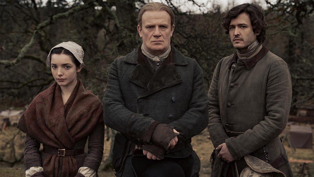 Jessica Reynolds, Mark Lewis Jones, and Alexander Vlahos, Outlander