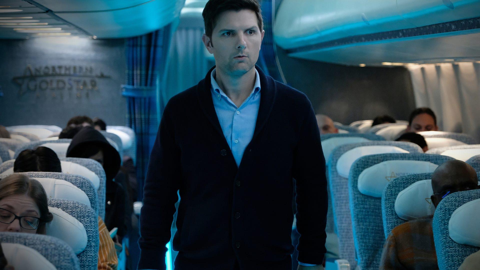 "Adam Scott in The Twilight Zone, ""Nightmare at 30,000 Feet"""