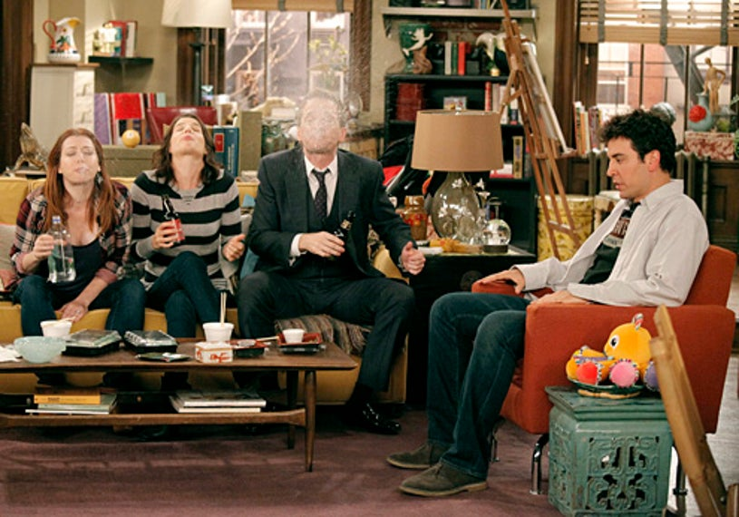 """How I Met Your Mother - Season 8 - """"The Stamp Tramp"""" - Alyson Hannigan, Cobie Smulders, Neil Patrick Harris and Josh Radnor"""