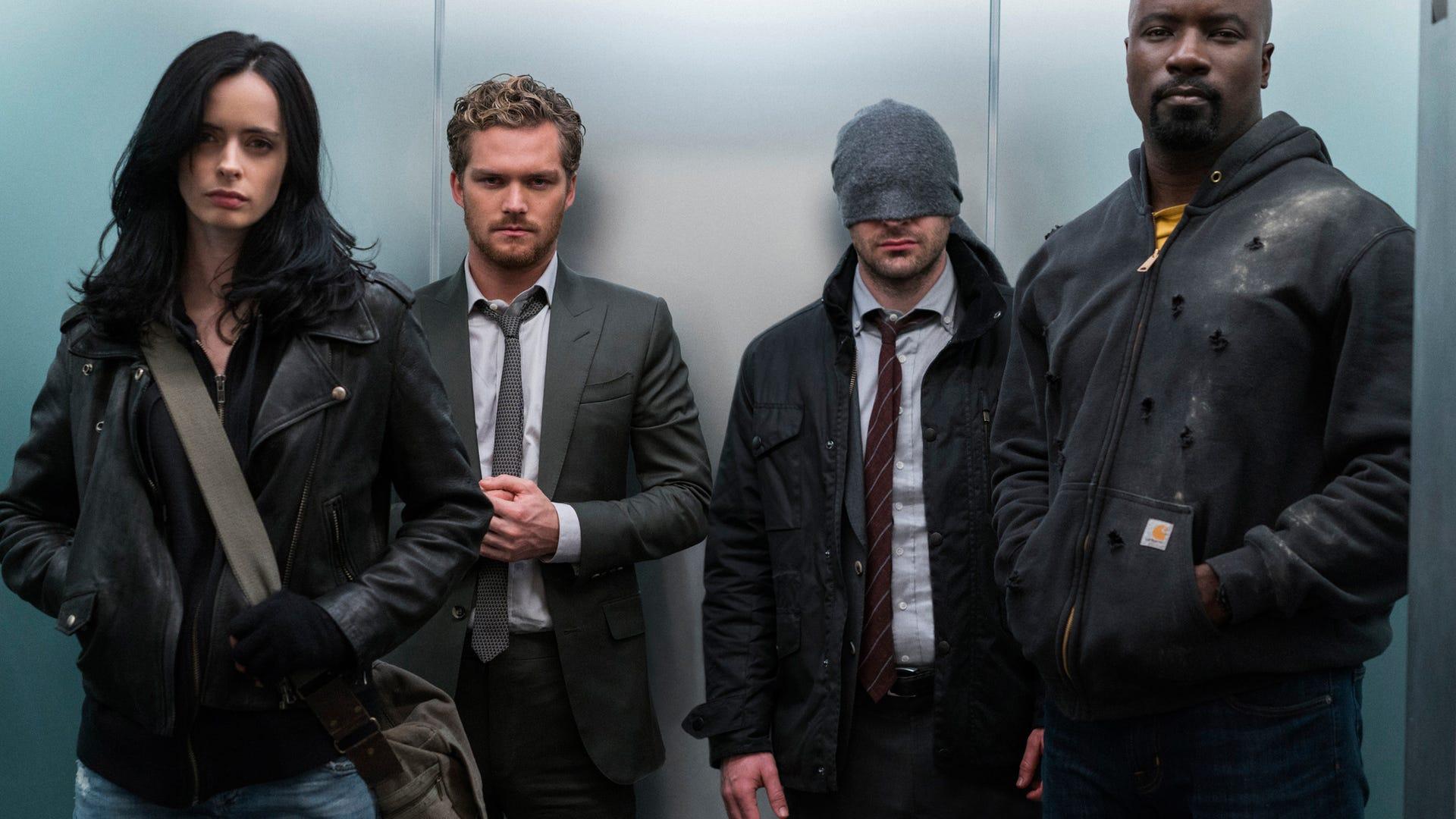 Krysten Ritter, Finn Jones, Charlie Cox, Mike Colter; Marvel's The Defenders