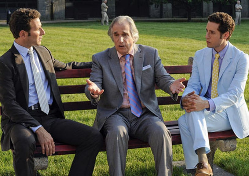 "Royal Pains - Season 3 - ""A Man Called Grandpa"" - Mark Feuerstein as Hank Lawson, Henry Winkler as Eddie R. Lawson and Paulo Costanzo as Evan Lawson"