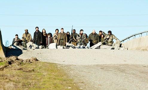 "Falling Skies - Season 2 - ""Death March"" - Noah Wyle, Moon Bloodgood, Maxim Knight, Peter Shinkoda, Will Patton, Seychelle Gabriel, Mpho Koaho and Ryan Robbins"
