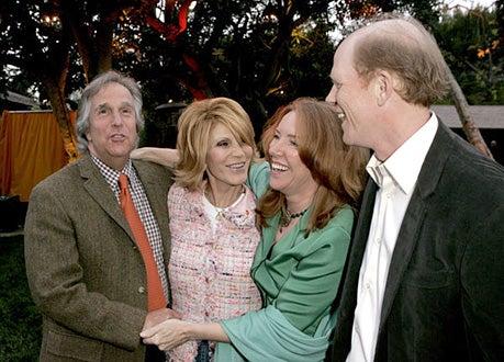 """Henry Winkler, Stacey Winkler, Cheryl Howard Crew and Ron Howard - Cheryl Howard Crew celebrates her new book """"In The Face of Jinn,"""" April 19, 2005"""