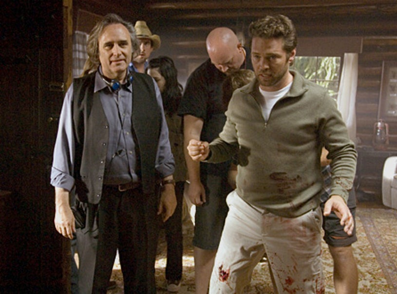 """Masters of Horror - """"The Screwfly Solution"""" - Director Joe Dante on set with Jason Priestley as Alan"""