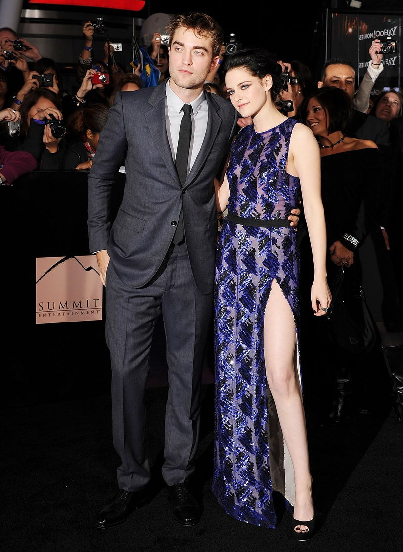 """Robert Pattinson and actress Kristen Stewart arrive at the Los Angeles Premiere """"The Twilight Saga: Breaking Dawn - Part 1"""" at Nokia Theatre L.A. Live on November 14, 2011"""