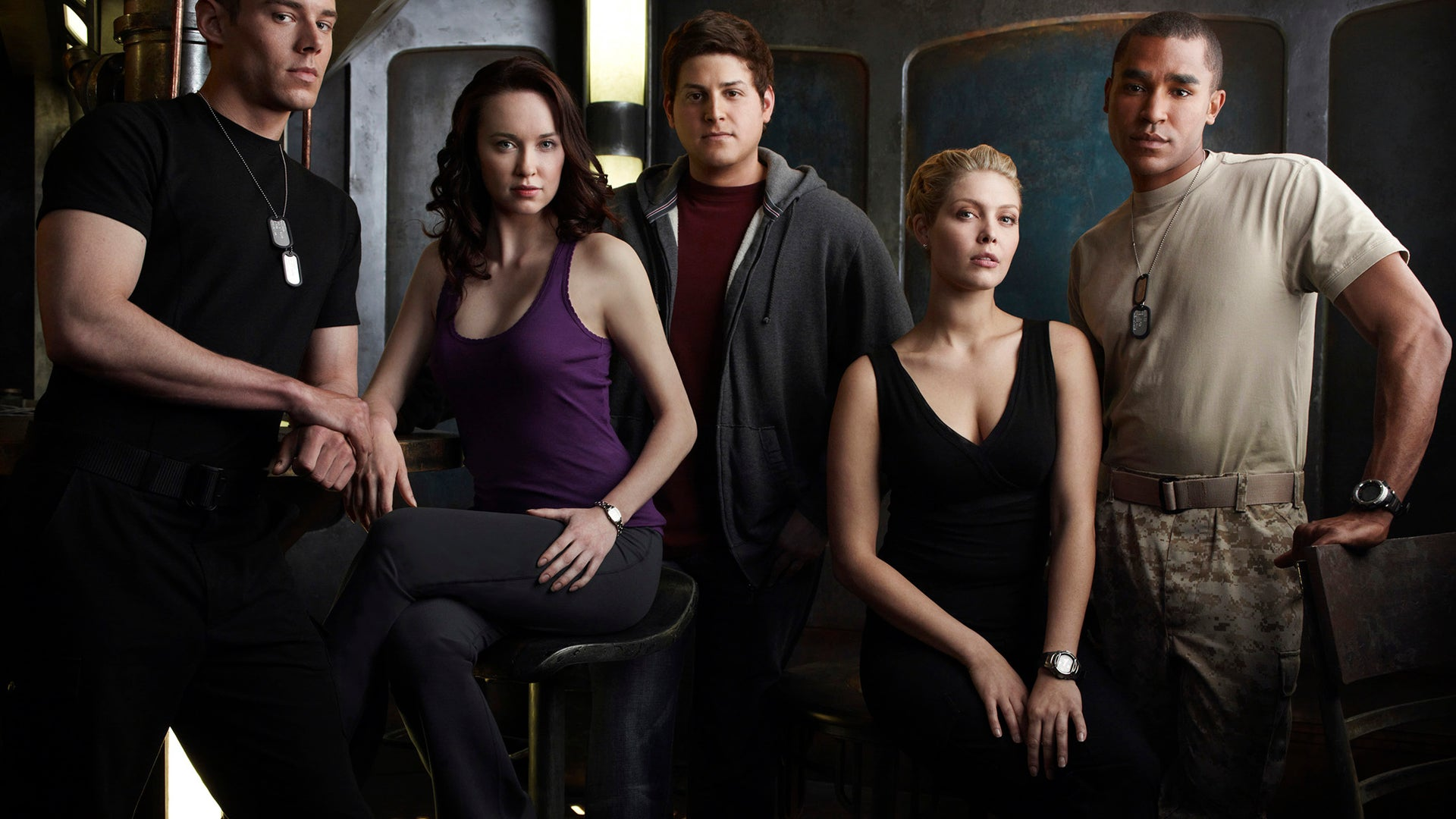 Brian J Smith, Elyse Levesque, David Blue, Alaina Huffman and Jamil Walker Smith, Stargate Universe