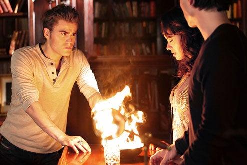 "The Vampire Diaries - Season 2 - ""The Sacrifice"" - Paul Wesley as Stefan, Katerina Graham as Bonnie and Ian Somerhalder as Damon"