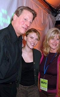 """Al Gore, Scarlett Johansson, and Tipper Gore - """"Take Back TV"""", Oct. 2005"""