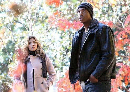 "Necessary Roughness - Season 1 - ""Pilot"" - Callie Thorne as Danielle Santino and Mehcad Brooks as TK"
