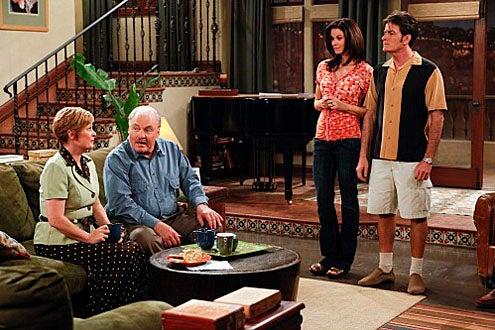 "Two and a Half Men - Season 7 - ""Yay, No Polyps!"" - Meagan Fay, Stacy Keach, Jennifer Taylor and Charlie Sheen"