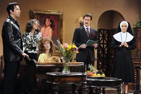 "Saturday Night Live - Season 35 - ""Jennifer Lopez"" - Fred Armison, Jenny Slate, Kristin Wiig, Bill Hader and Jennifer Lopez"