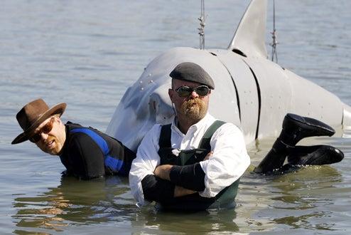 Shark Week 2008 - MythBusters hosts Adam Savage and Jamie Hyneman and mechanical shark