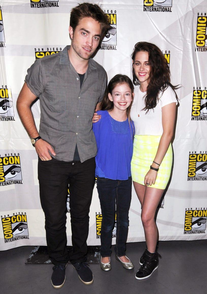 "Mackenzie Foy, Robert Pattinson and Kristen Stewart attend ""The Twilight Saga: Breaking Dawn Part 2"" Panel during Comic-Con International 2012 at San Diego Convention Center on July 12, 2012"