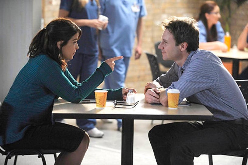 """Mental - Season 1 - """"Roles of Engagement"""" - Annabella Sciorra as Nora Skoff and Chris Vance as Dr. Jack Gallagher"""