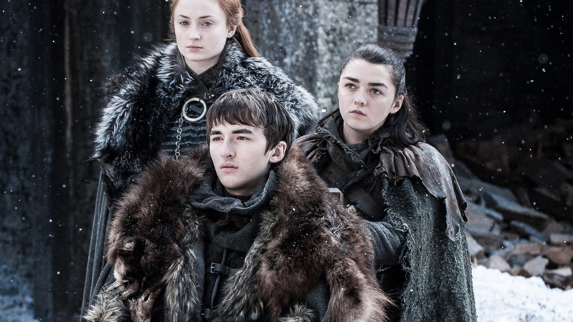 Sophie Turner, Isaac Hempstead-Wright and Maisie Williams, Game of Thrones