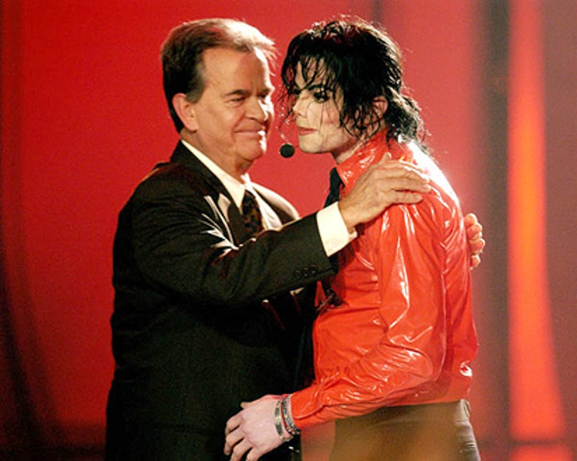 """Dick Clark and Michael Jackson - """"American Bandstand's 50th … A Celebration!"""" in California, April 21, 2002"""