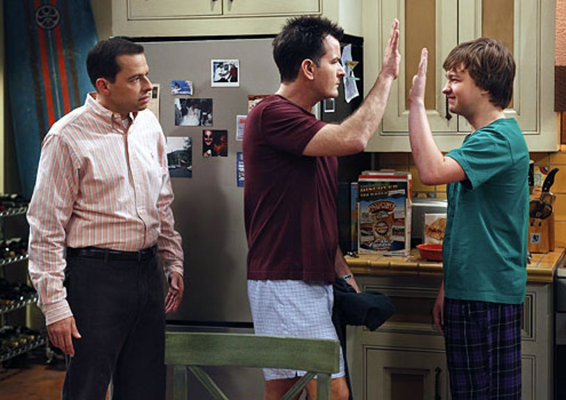 """Two and a Half Men - Season 8 - """"Three Girls and a Guy Named Bud"""" - Jon Cryer as Alan, Charlie Sheen as Charlie and Angus T. Jones as Jake"""