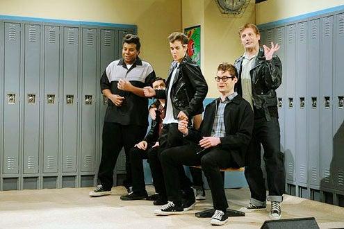 "Saturday Night Live - Season 38 - ""Justin Bieber"" - Kenan Thompson, Fred Armisen, Justin Bieber, Bill Hader and Tim Robinson"
