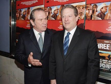 """Tommy Lee Jones and Al Gore - """"The Three Burials of Melquiades Estrada"""" premiere, Dec. 2005"""