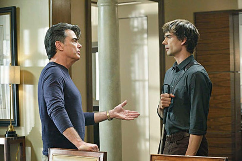 """Covert Affairs - Season 4 - """"Crackity Jones"""" - Peter Gallagher and Christopher Gorham"""